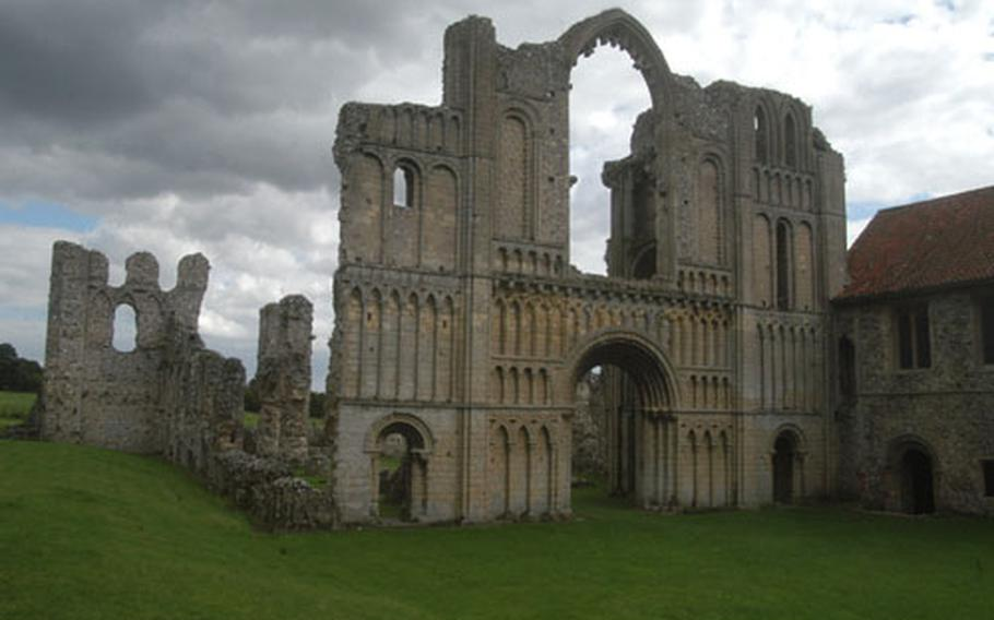 The 12th century front of the Castle Acre priory in Castle Acre, England, gives a hint of the glory of the building that is now an atmospheric ruin.