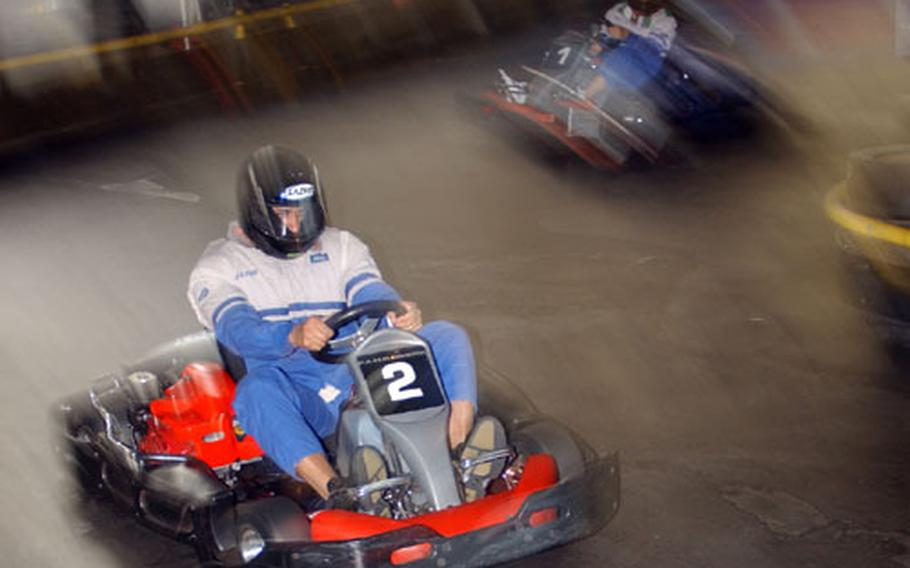 Wannabe Michael Schumachers whip around curves at the Fahr Werk racetrack in Gross-Zimmern, Germany, while transponders record lap times so the fastest drivers are awarded at the end of the race.