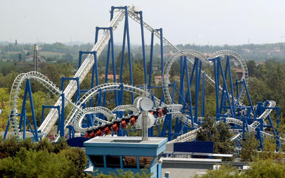 The Blue Tornado roller coaster stands out at Italy's Gardaland not only as a visible landmark, but also as one of the park's top attractions.