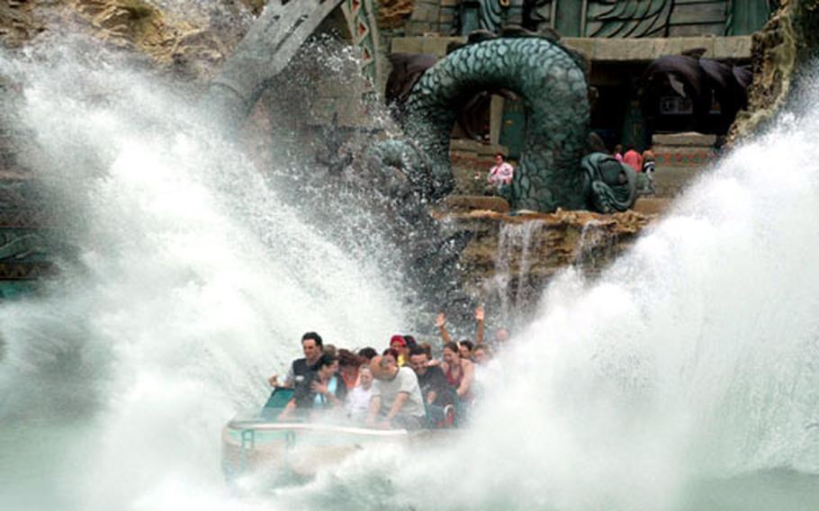The Fuga da Atlantide ride at Gardaland: Prepare to get wet.