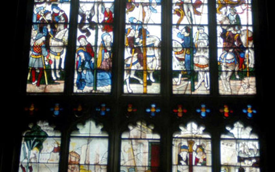 The stained glass windows at St. Mary's Church in Fairford, England, are the main drawing card for visitors. There are 28 nearly complete windows that tell biblical stories.