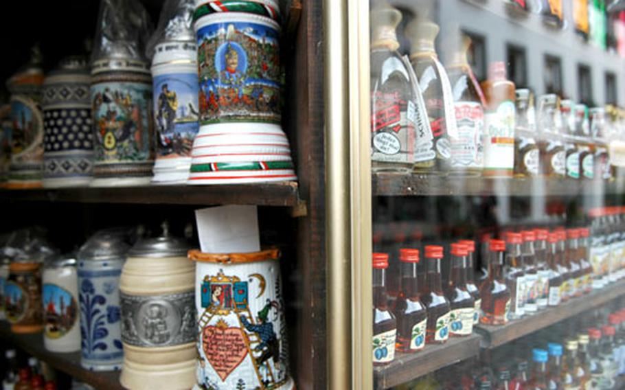 Local schnapps from the Odenwald and a variety of beer steins and mugs await buyers.