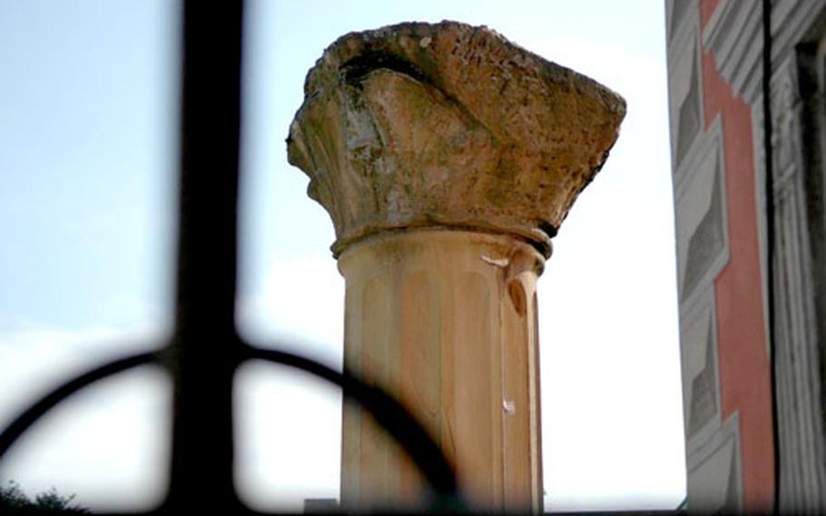 An ancient Roman column stands outside the Lobdengau museum, Ladenburg's small but impressive archaeological museum.