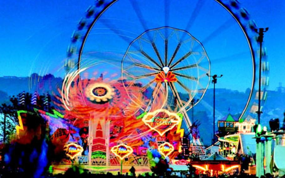 The volksfest includes a variety of rides, suitable for all ages, spread over 40 acres along the Neckar River. Among them is what is advertised as the largest transportable Ferris wheel in the world.