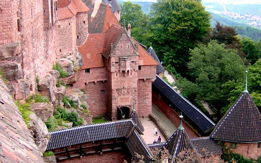 The restored Haut-Koenigsbourg fortress is built into a rocky spur overlooking the Alsatian vineyards. This view is from the north tower of the great keep, looking toward the main entrance of the fortress.