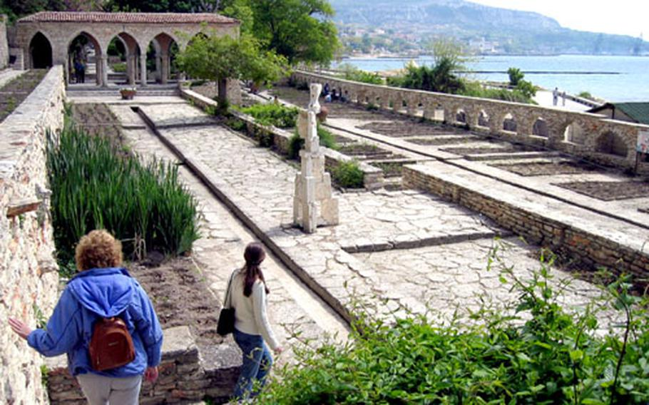 The Black Sea resort of Balchik offers not only the beach and sea, but also the summer palace and botanic gardens of Romanian Queen Marie, who ruled in the early 1900s. Above are the palace grounds. Below, colorful pottery from Sofia's open-air market.
