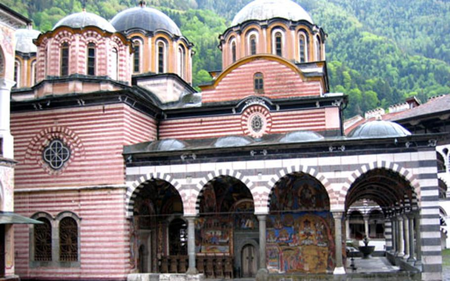Bulgaria's Rila Monastery, which dates to the 10th century, sits high amid forested hills and is still inhabited by monks.