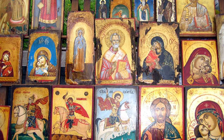 Religious artworks are on display for sale at an open-air market in Sofia. This small market also offered paintings, prints and other artworks by local artists.