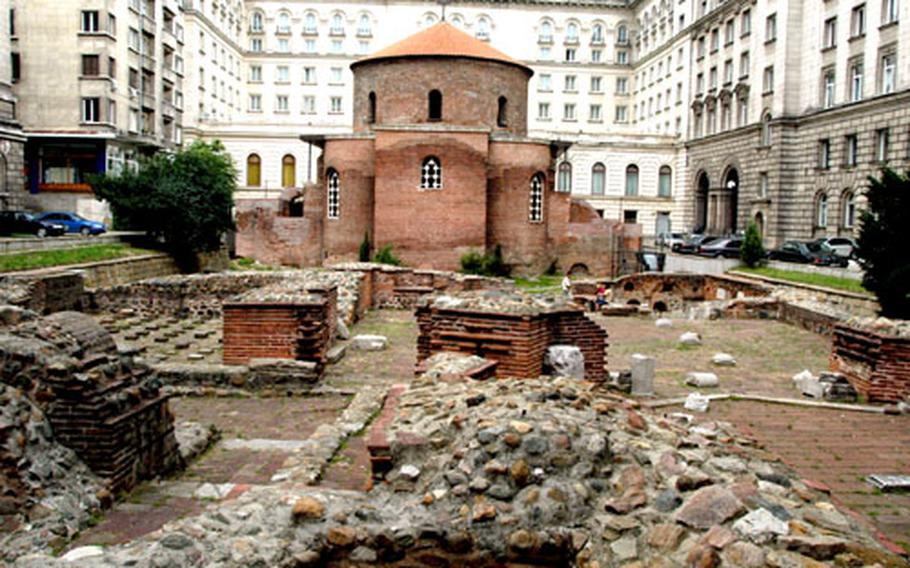 The St. George church, built in the fourth century, is believed to be the oldest building in Sofia, creating a juxtaposition with the modern Sheraton Hotel that lies behind it. Ruins of the ancient city of Serdica are scattered throughout the modern capital.