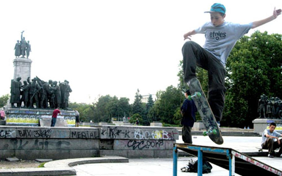 Skateboarders overrun the city's poorly kept parks, performing kick-flips beneath statues glorifying the country's former communist rulers.