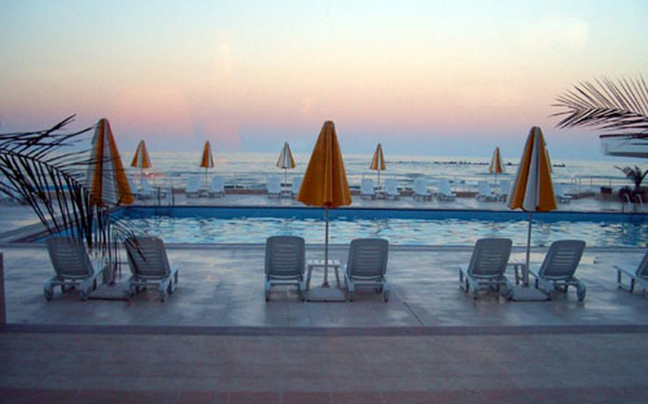 A look outside one of Constanta's many plush hotels offers an enticing view of the horizon.