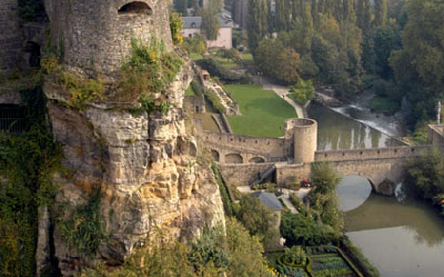 The remnants of the castle of the counts and dukes of Luxembourg stand on the Bock casemates high above the Alzette river.