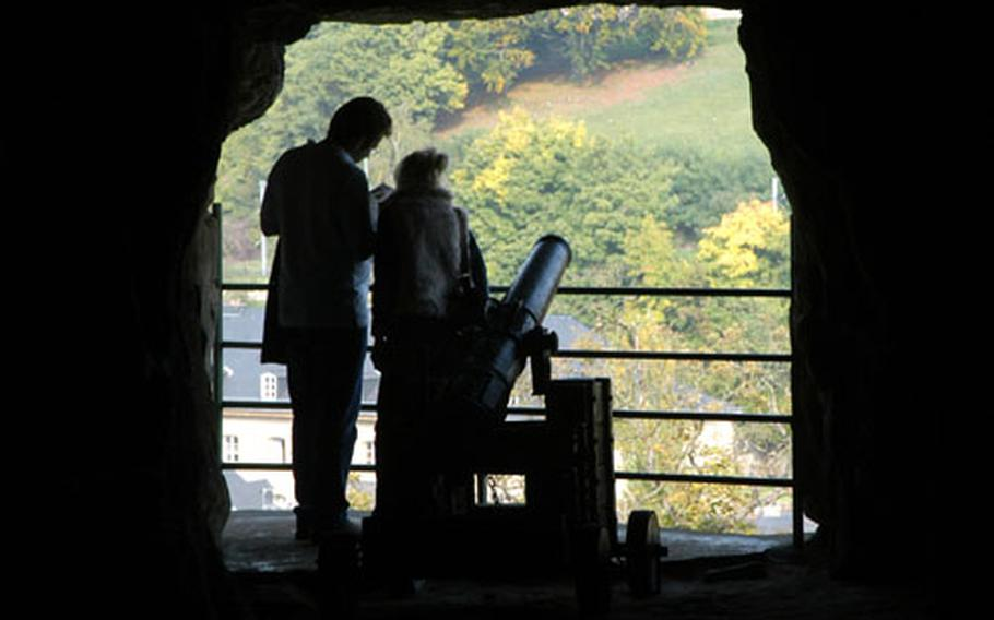 Inside the Bock casemates, looking out to the city.