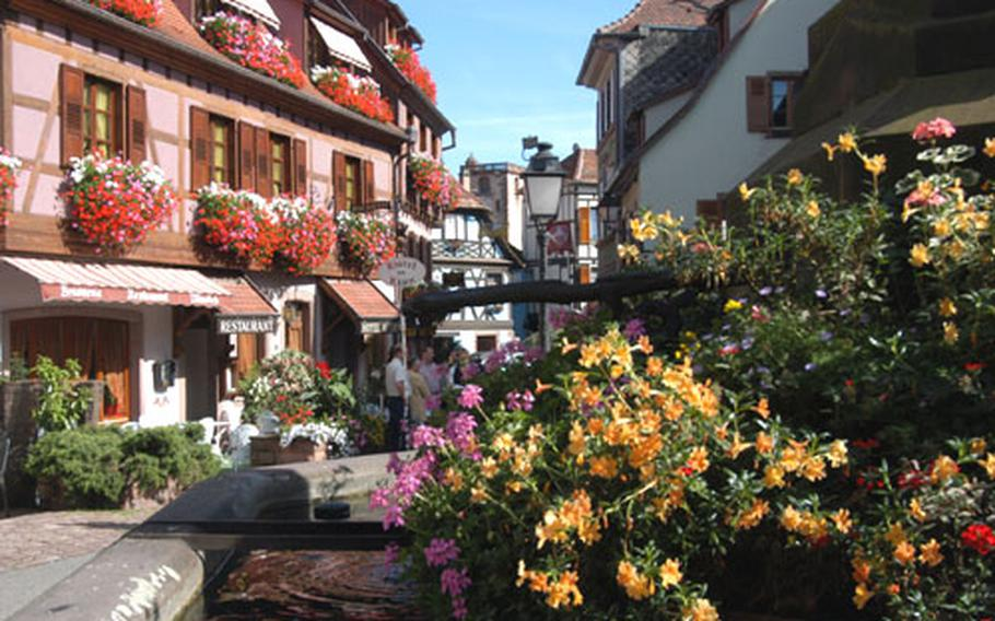 Colorful, flower-filled Ribeauvillé, one of the beautiful towns on the Alsatian Wine Road.