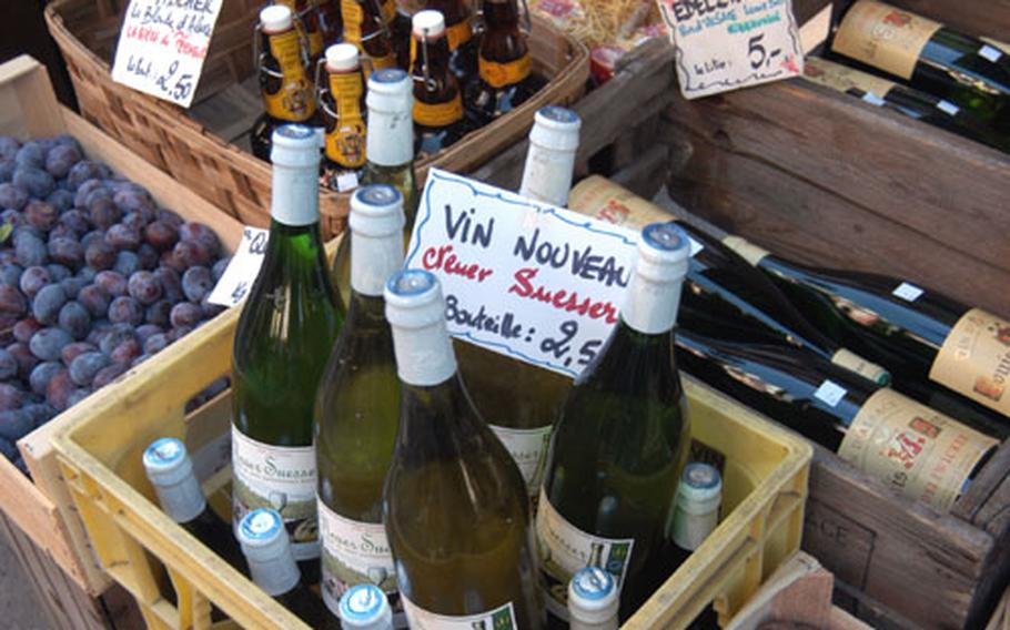 A shop in Ribeauvillé sells vin nouveau, a new wine only available from late August through October, along with a local Edelzwicker, Alsatian beer and plums.
