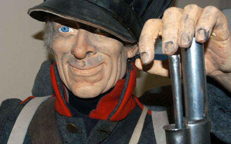 This museum model depicts a Prussian fusilier in the uniform of the 2nd Brandenburgischen Infantry-Regiment No. 12. This regiment was the first fighting unit to cross the stream.