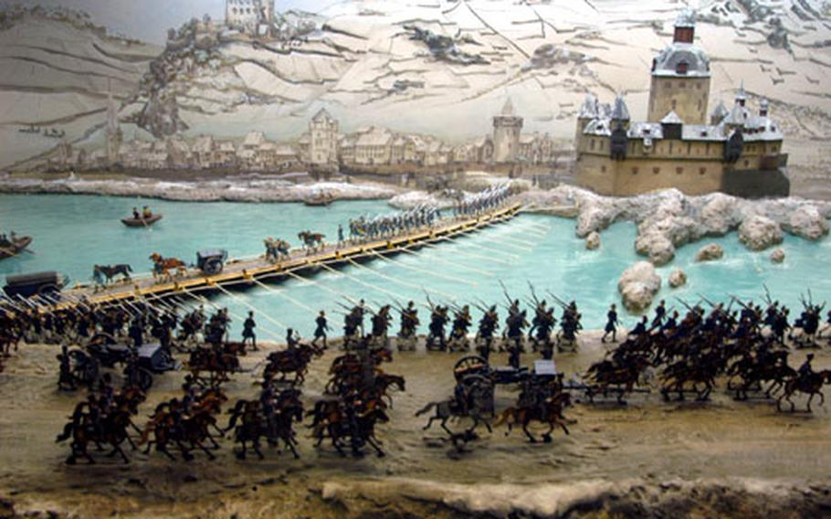 A Blücher Museum using tin soldiers shows the Rhine River crossing of Field Marshal Gebhard Leberecht von Blücher and his 3rd Silesian army.