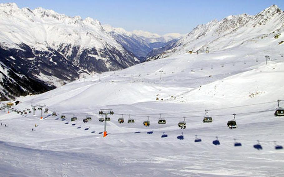 Modern lifts move skiers quickly around the Via Lattea, one of Italy's largest ski areas.
