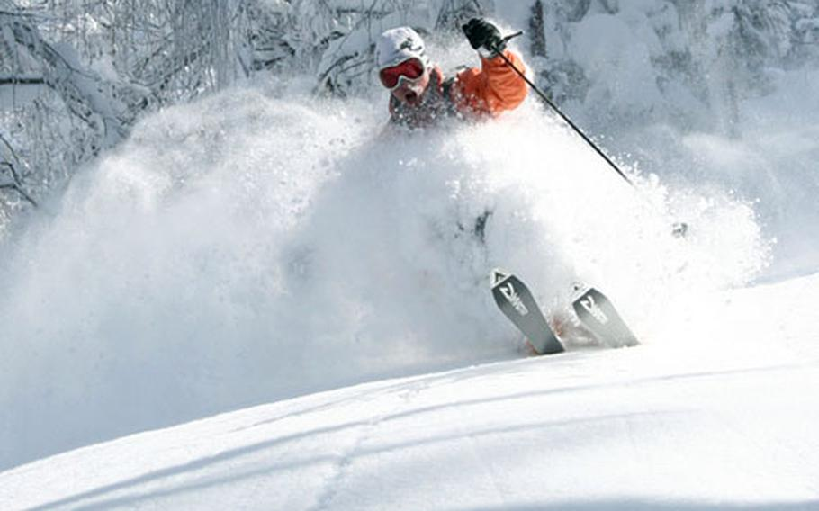Trevor Meldrum tears up the legendary powder on the slopes surrounding the Edelweiss Lodge and Resort in Garmisch, Germany.