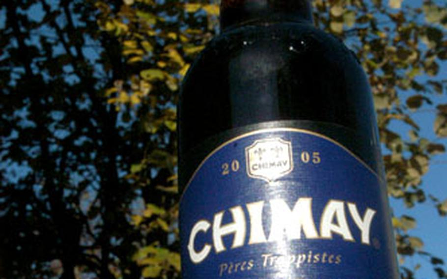 Chimay Blue is the most popular of the three beers brewed by monks at the Abbaye Notre-Dame de Scourmont in Chimay, Belguim.