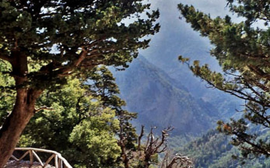 The northern terminus of the Samaria Gorge trail in Crete offers stunning views. Take sturdy shoes —the first leg of the trail zigzags as it drops more than 3,200 feet in the first mile or so.
