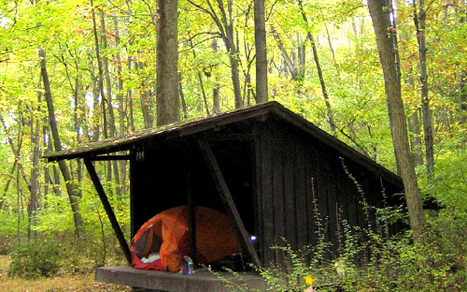 A lean-to, available for free on a first-come, first-served basis, offers some shelter from the elements.