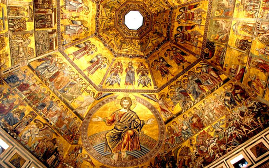 To get into the baptistery next to the cathedral of Santa Mara del Fiore in Florence, Italy, visitors have to enter through bronze doors. But inside, it's gold that catches the eye. Biblical scenes are offset by gold on a striking ceiling.