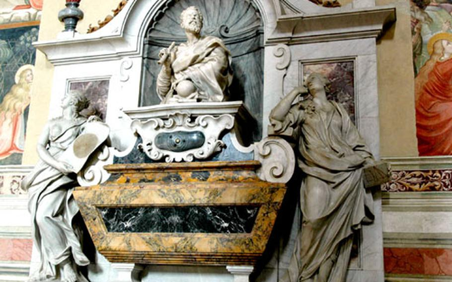 Several famous Italians, including the scientist Galileo, are buried inside Florence's Santa Croce basilica.