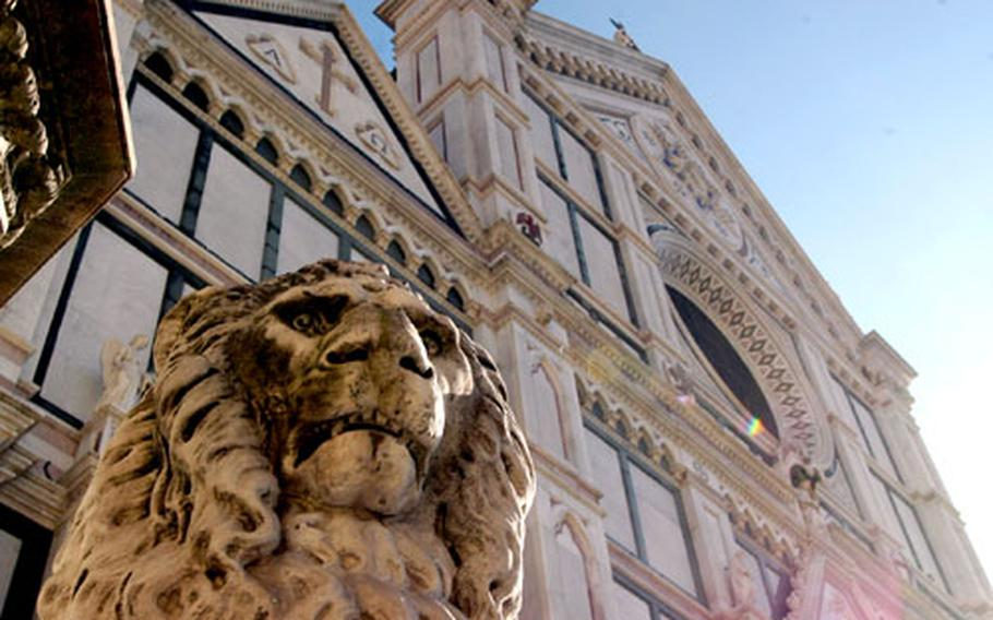 One of three carved lions outside the Santa Croce Basilica in Florence.