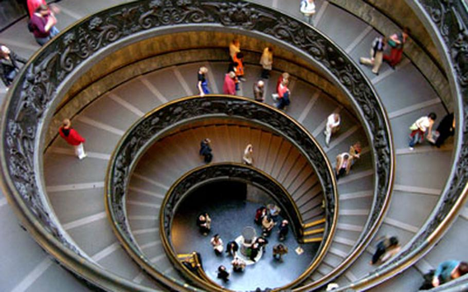 The spiral staircase at the Vatican Museum in Rome is a work of art in itself.