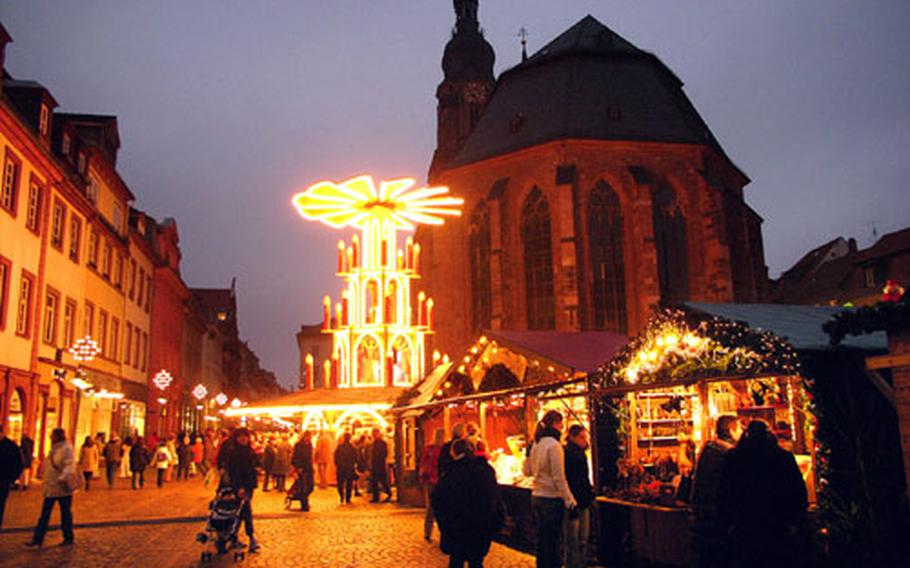The Marktplatz is the site of the rotating Heidelberg Christmas Pyramid. It is nearly 30 feet tall and decorated with figures from Heidelberg's history.