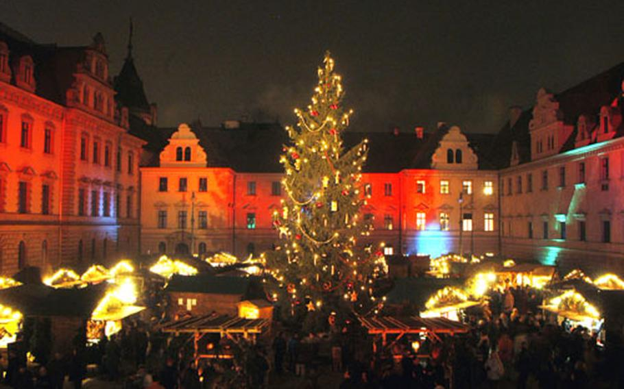 The Romantic Christmas Market in the courtyard of the Palace of the Dukes of Thurn and Taxis is like a fairy tale come true.
