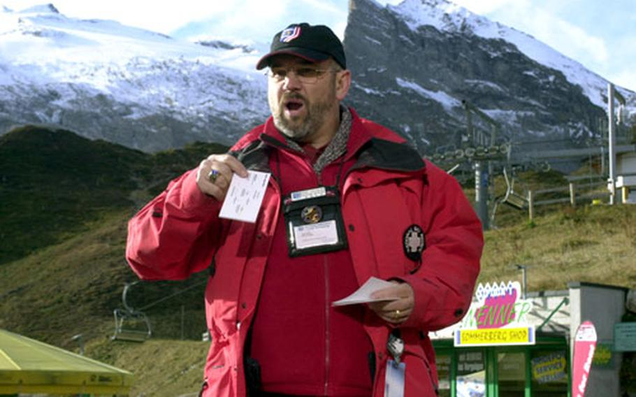 Ron Vaughn, a member of the ski patrol from Stuttgart, Germany, teaches a refresher course for patrollers based in Europe.