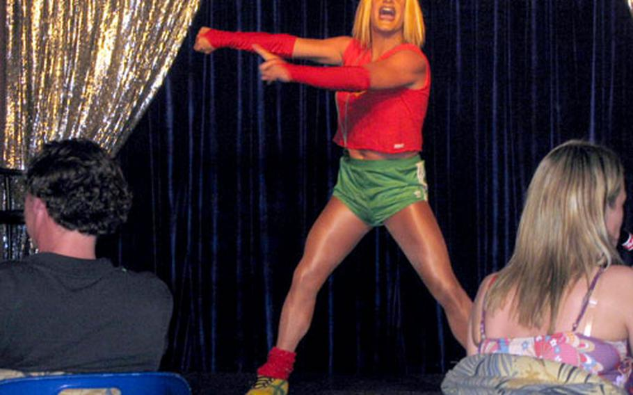 Aerobics, anyone? One of the acts at Ricky's Cabaret Bar in Maspalomas, Canary Islands. The show starts at about midnight and continues for over an hour. Admission is free.