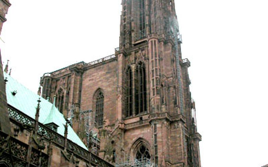 From anywhere in Strasbourg, France, the Strasbourg Cathedral de Notre-Dame dominates the skyline. The massive Gothic cathedral was built between the 11th and 15th centuries. Its tower rises 469 feet, the tallest in Europe.