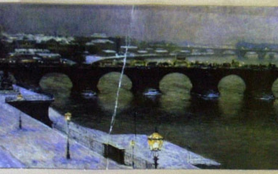The back of the ticket for a Lipsius-Bau art exhibit shows a painting of Dresden's Augustusbrücke (Augustus Bridge), which crosses the Elbe River.