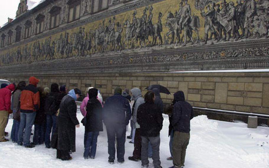 """""""Procession of the Dukes,"""" a giant mural along the side of the city palace in downtown Dresden, gives another look at the city's history."""