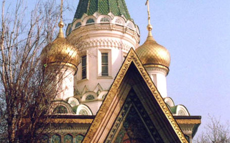 The Russian church of St. Nicholai is a sparkling jewel in downtown Sofia. It is often referred to as Sofia's prettiest church.