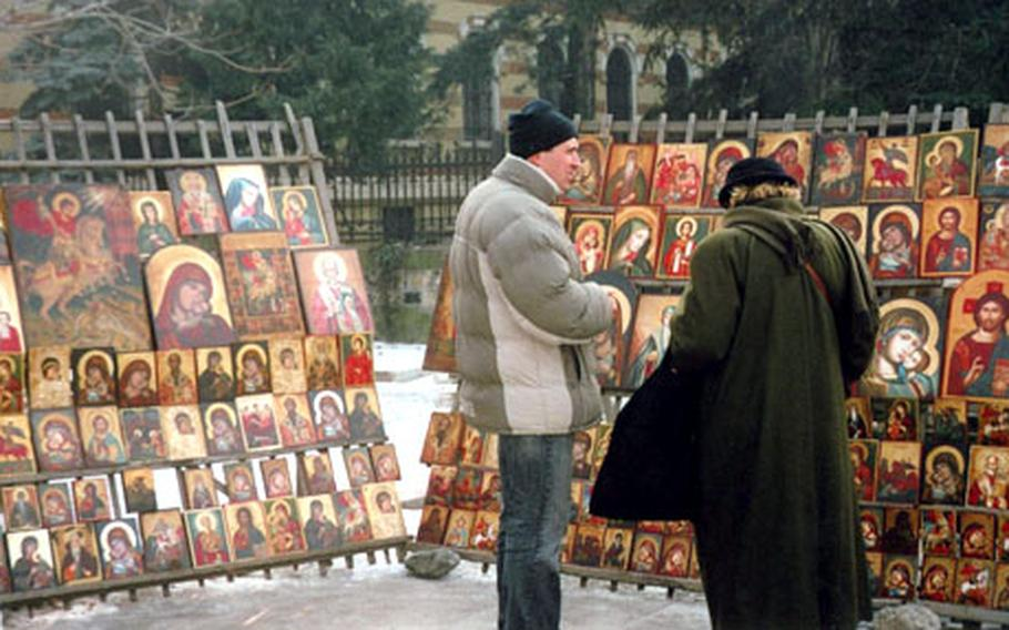 Religious icons are a popular item in Sofia's street market.