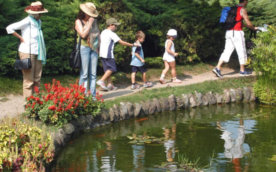 Tourists look at Japanese koi carp and their own reflections at Parco Sigurtà, a privately owned and operated facility.