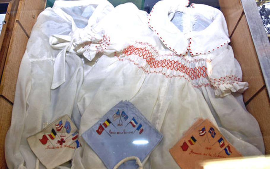 Belgian women fashioned discarded U.S. parachutes into clothing for babies and even brides. This outfit is on display at The Musée 40-44 in Monceau-Imbrechies.