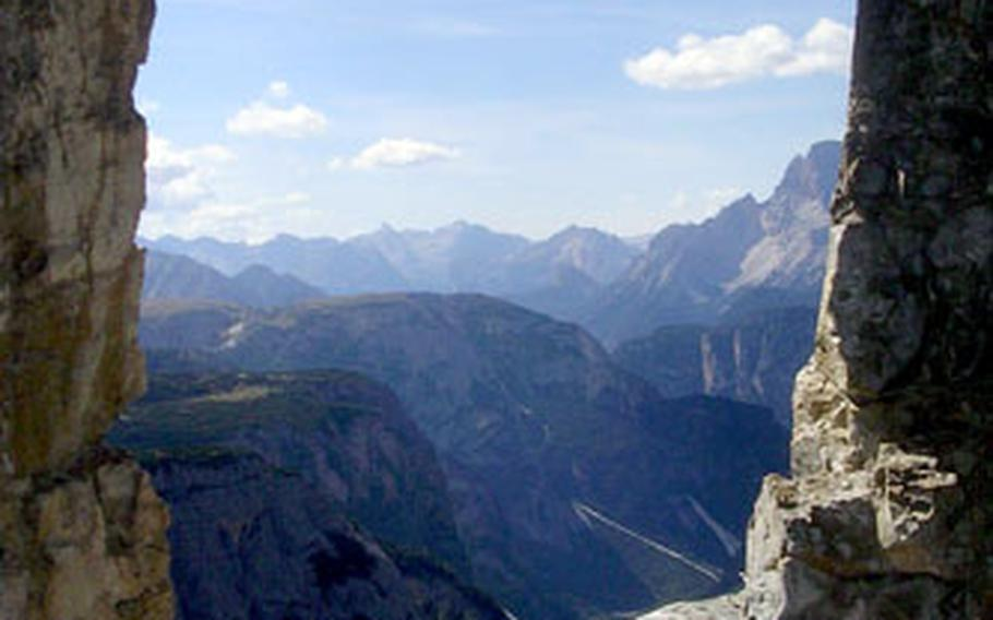 Fantastic views from windows hewn out of stone are the reward for those who take a side trip toward Monte Paterno from Rifugio Locatelli. During World War II, the Germans excavared a series of caves throughout the area for observation points.