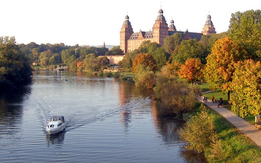 Aschaffenburg's Johannisburg Palace overlooking the Main River dates back to the 17th century. Built on the site of a destroyed medieval fortress, it has a 14th-century keep.