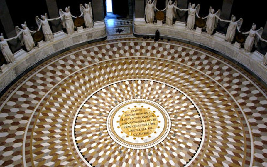 The view from the upper galleria shows the the decorative marble floor of the Befreiungshalle, or Liberation Hall.