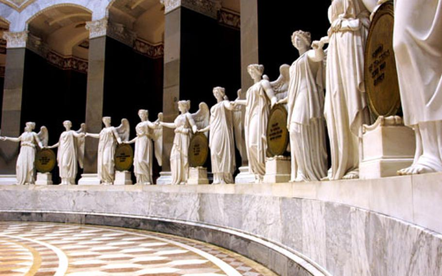 Thirty-four marble maidens, symbolizing the German states, surround the rotunda of the Befreiungshalle, or Liberation Hall.