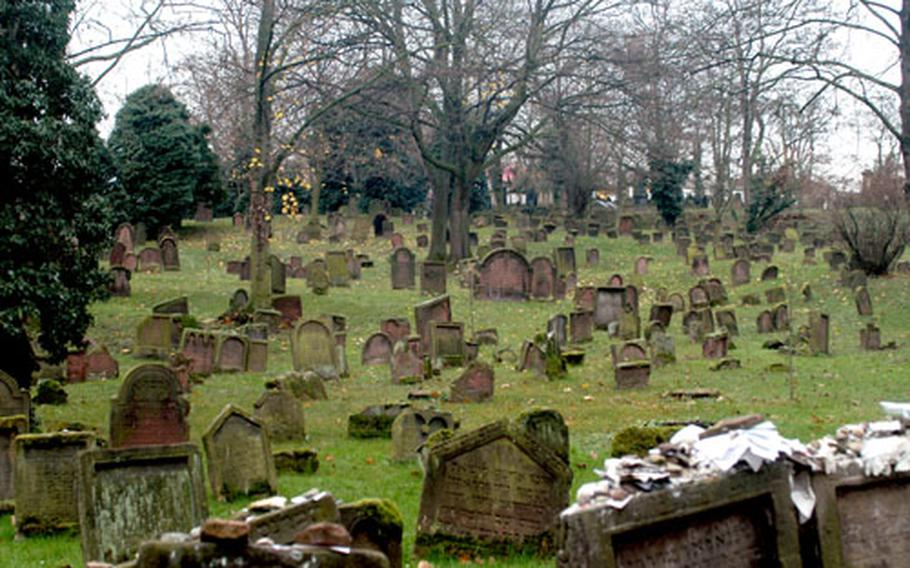 """More than 2,000 people are buried in the Jewish cemetery. The green expanses of the cemetery, which dates to the 11th century, are now the citys of Worm's """"breathing space."""""""