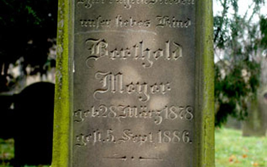 A headstone from the Jewish cemetery in Worms, Germany, which was closed in 1911.