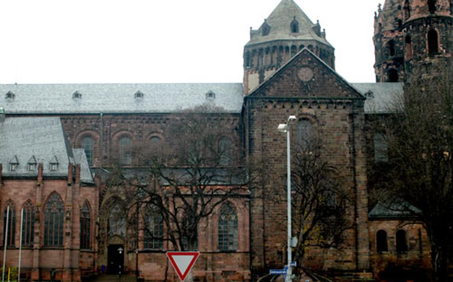 """St. Peter's Cathedral is one of the three """"imperial cathedrals,"""" along with those in Speyer and Mainz."""