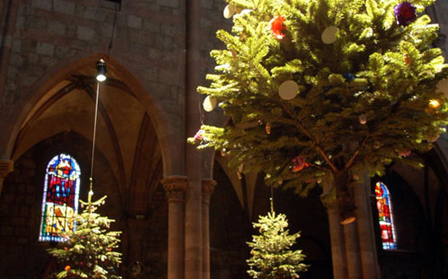 St. George's Church decks the halls with hanging Christmas trees.