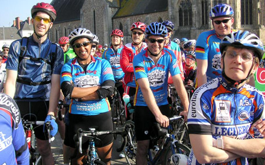Riders from Heidelberg, Germany, gather before starting a leg of the Voie de la Liberté in Normandy, France. This year's edition of the event will be in Belgium.